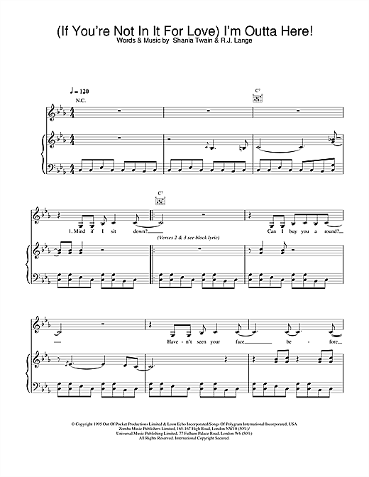 Shania Twain (If You're Not In It For Love) I'm Outta Here! sheet music notes and chords. Download Printable PDF.