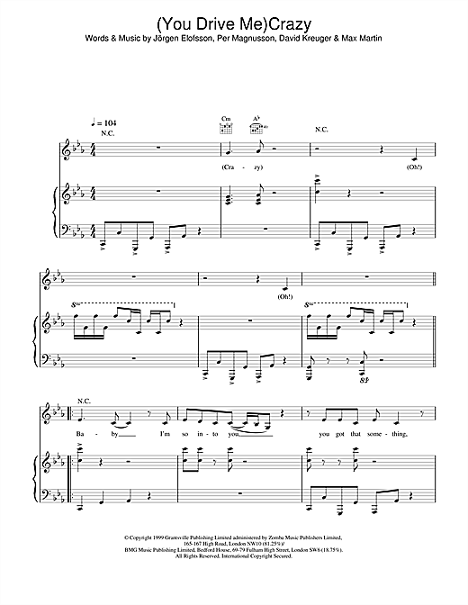 Shania Twain (You Drive Me) Crazy sheet music notes and chords