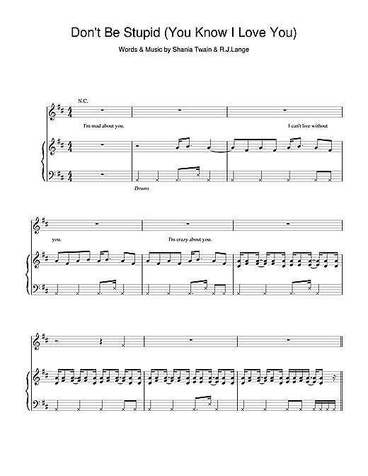 Shania Twain Don't Be Stupid (You Know I Love You) sheet music notes and chords. Download Printable PDF.