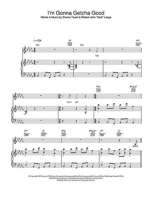 Shania Twain I'm Gonna Getcha Good sheet music notes and chords