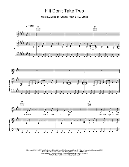 Shania Twain If It Don't Take Two sheet music notes and chords