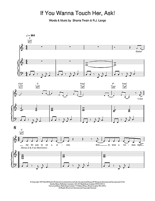 Shania Twain If You Wanna Touch Her, Ask! sheet music notes and chords. Download Printable PDF.