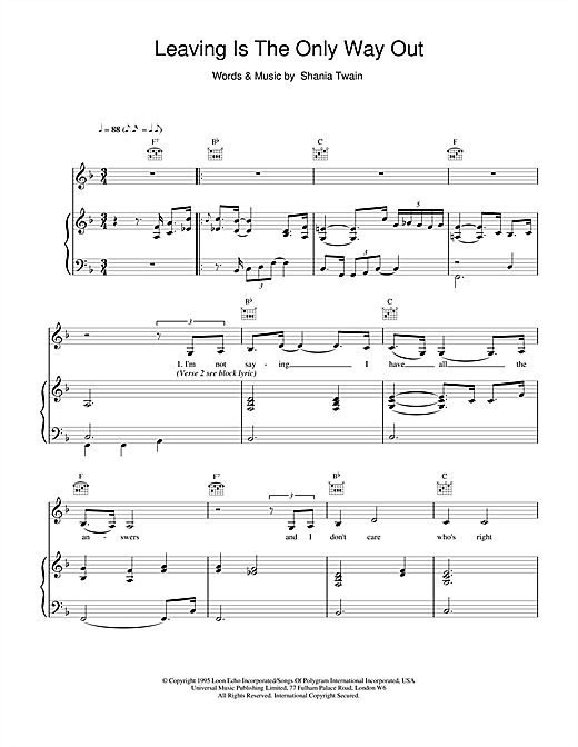 Shania Twain Leaving Is The Only Way Out sheet music notes and chords