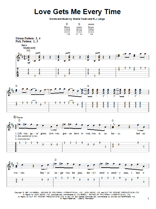 Shania Twain Love Gets Me Every Time sheet music notes and chords. Download Printable PDF.