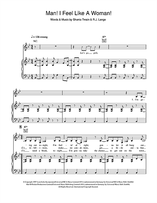 Shania Twain Man! I Feel Like A Woman! sheet music notes and chords