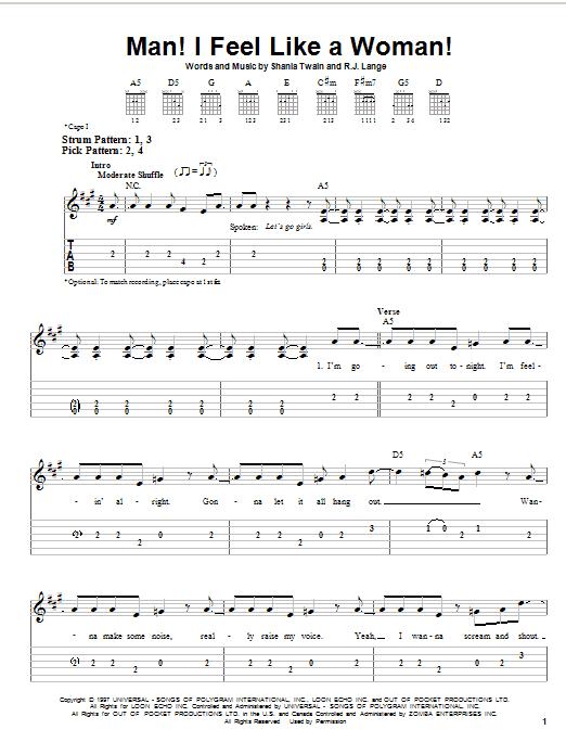Shania Twain Man! I Feel Like A Woman! sheet music notes and chords. Download Printable PDF.