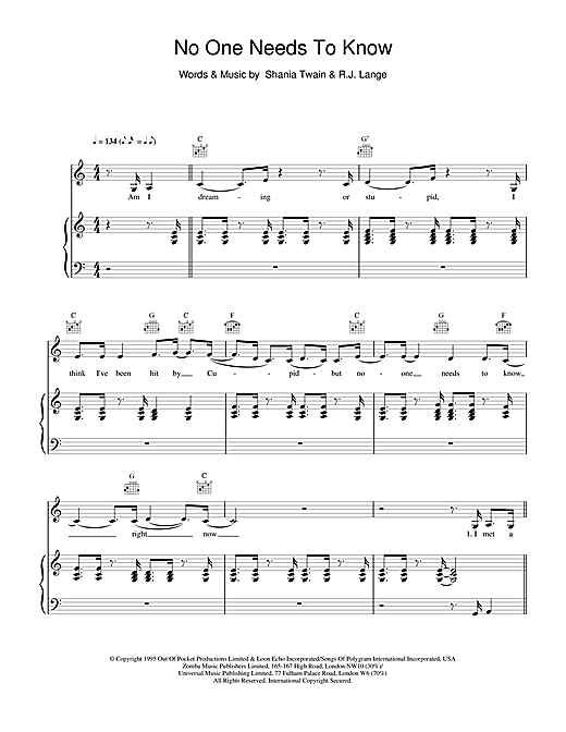 Shania Twain No One Needs To Know sheet music notes and chords