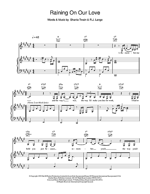 Shania Twain Raining On Our Love sheet music notes and chords