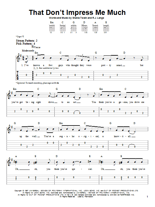 Shania Twain That Don't Impress Me Much sheet music notes and chords. Download Printable PDF.
