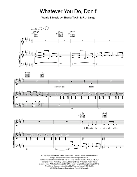 Shania Twain Whatever You Do, Don't! sheet music notes and chords. Download Printable PDF.