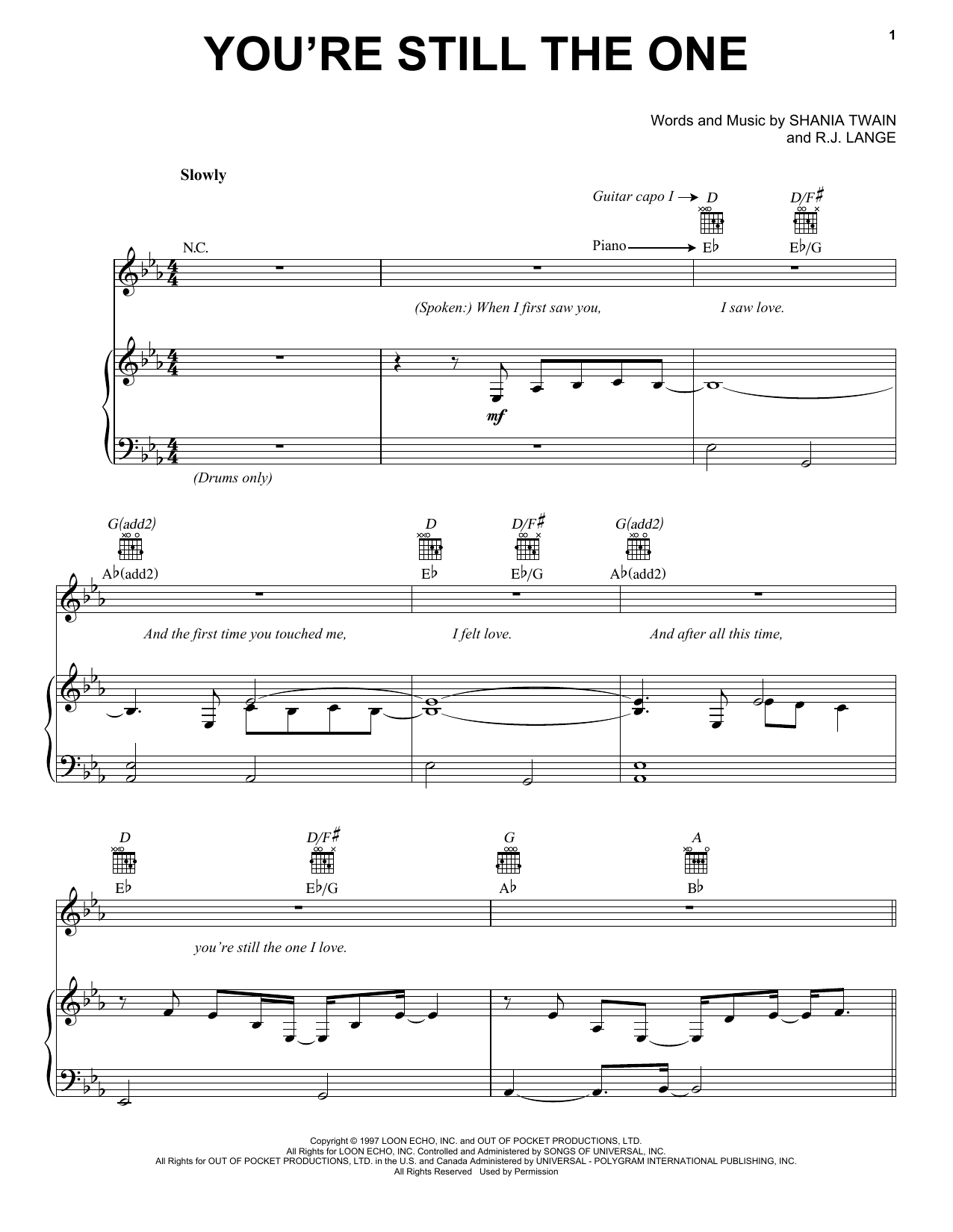 Shania Twain You're Still The One sheet music notes and chords. Download Printable PDF.