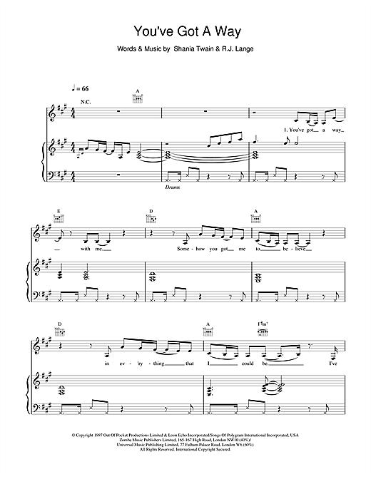 Shania Twain You've Got A Way sheet music notes and chords