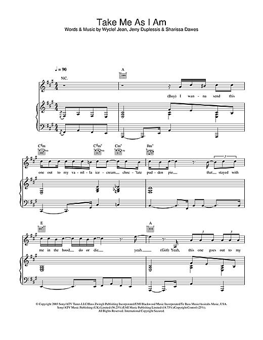 Sharissa Take Me As I Am sheet music notes and chords. Download Printable PDF.