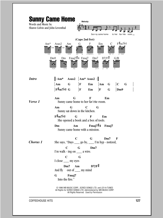 Shawn Colvin Sunny Came Home sheet music notes and chords. Download Printable PDF.