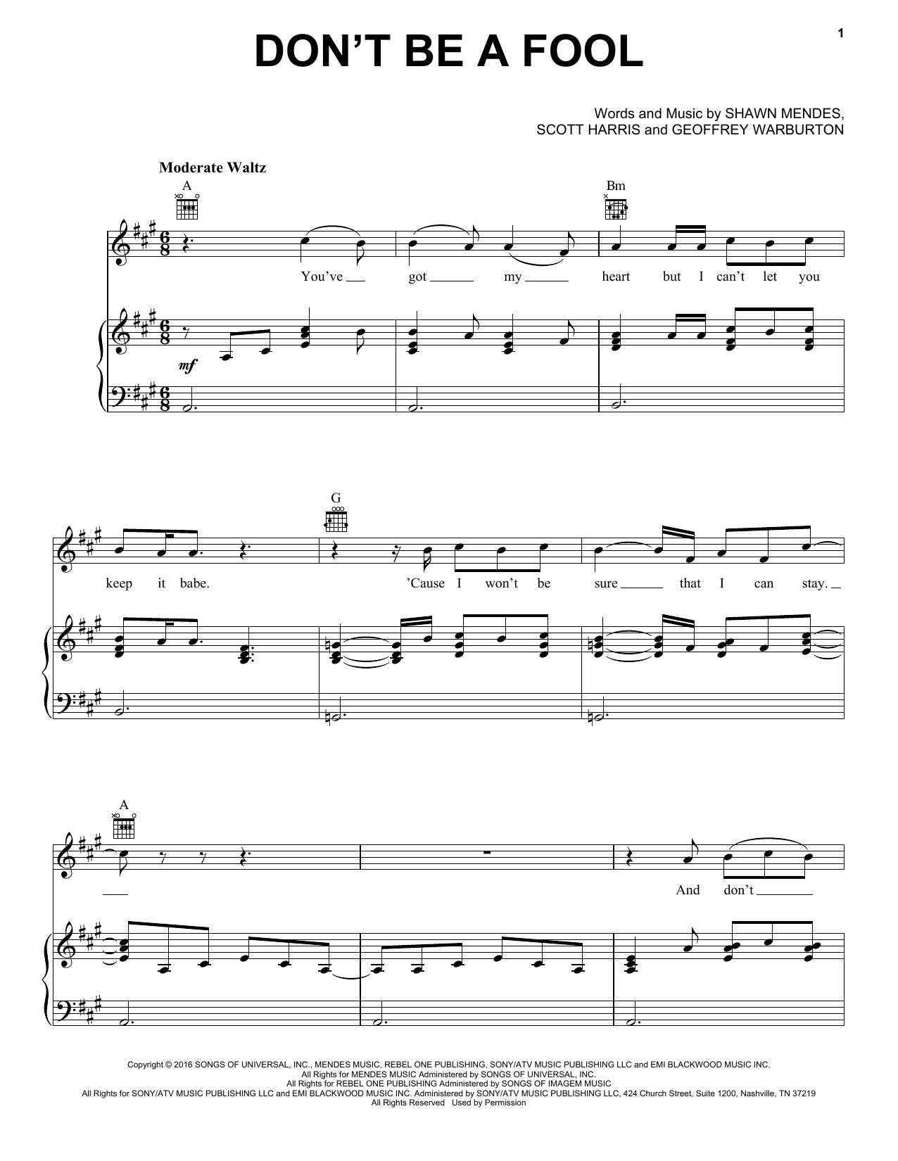Shawn Mendes Don T Be A Fool Sheet Music Pdf Notes Chords Pop Score Piano Vocal Guitar Right Hand Melody Download Printable Sku 177279