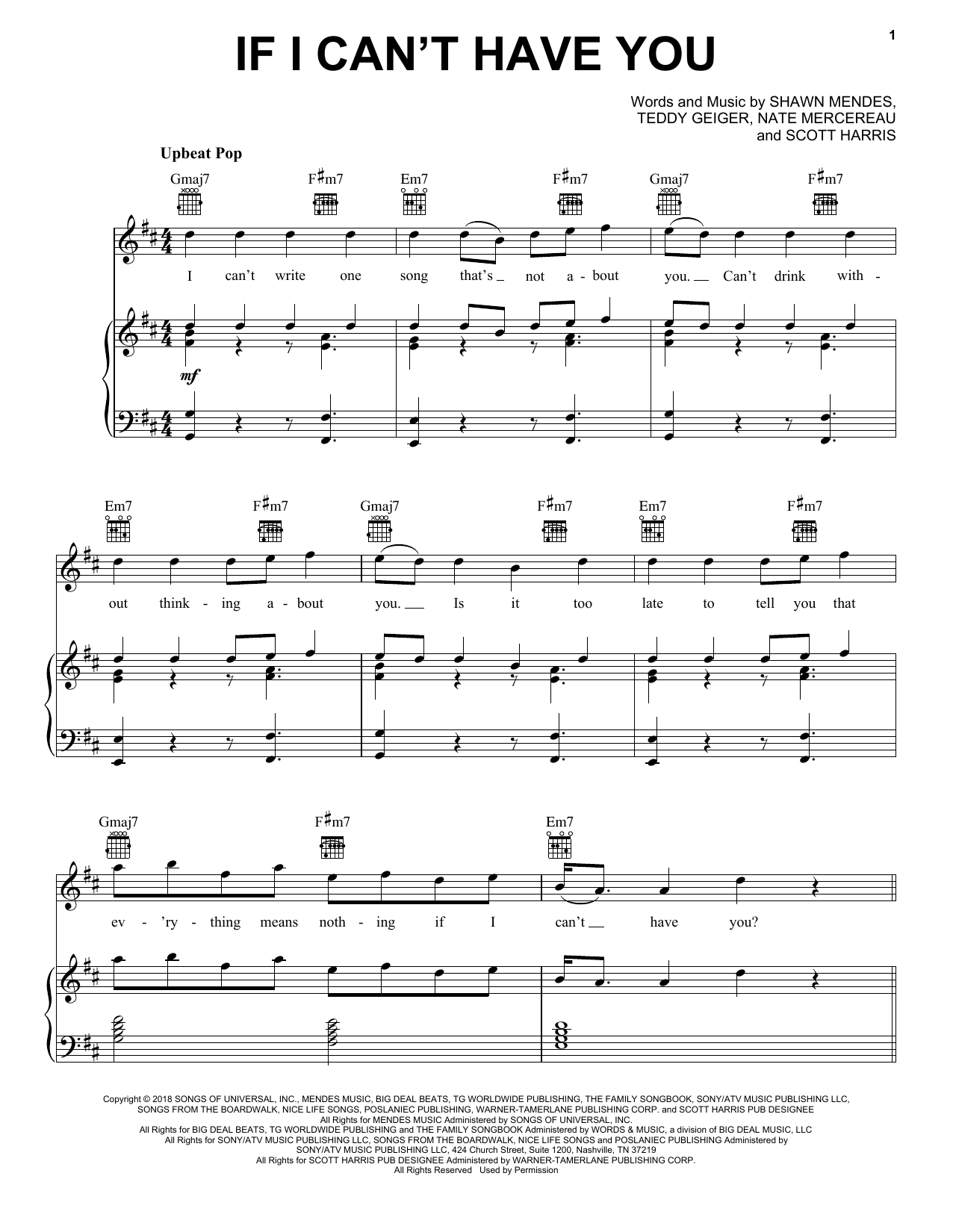 Shawn Mendes If I Can't Have You sheet music notes and chords. Download Printable PDF.