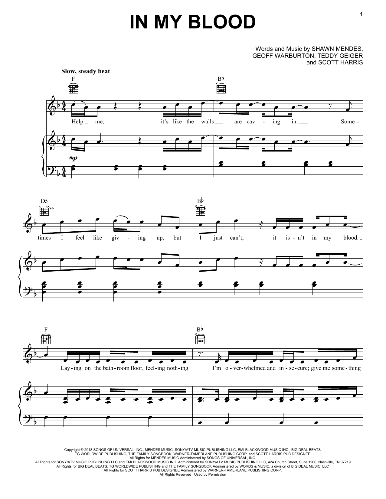 Shawn Mendes 'In My Blood' Sheet Music Notes, Chords | Download Printable  Piano, Vocal & Guitar (Right-Hand Melody) - SKU: 251572