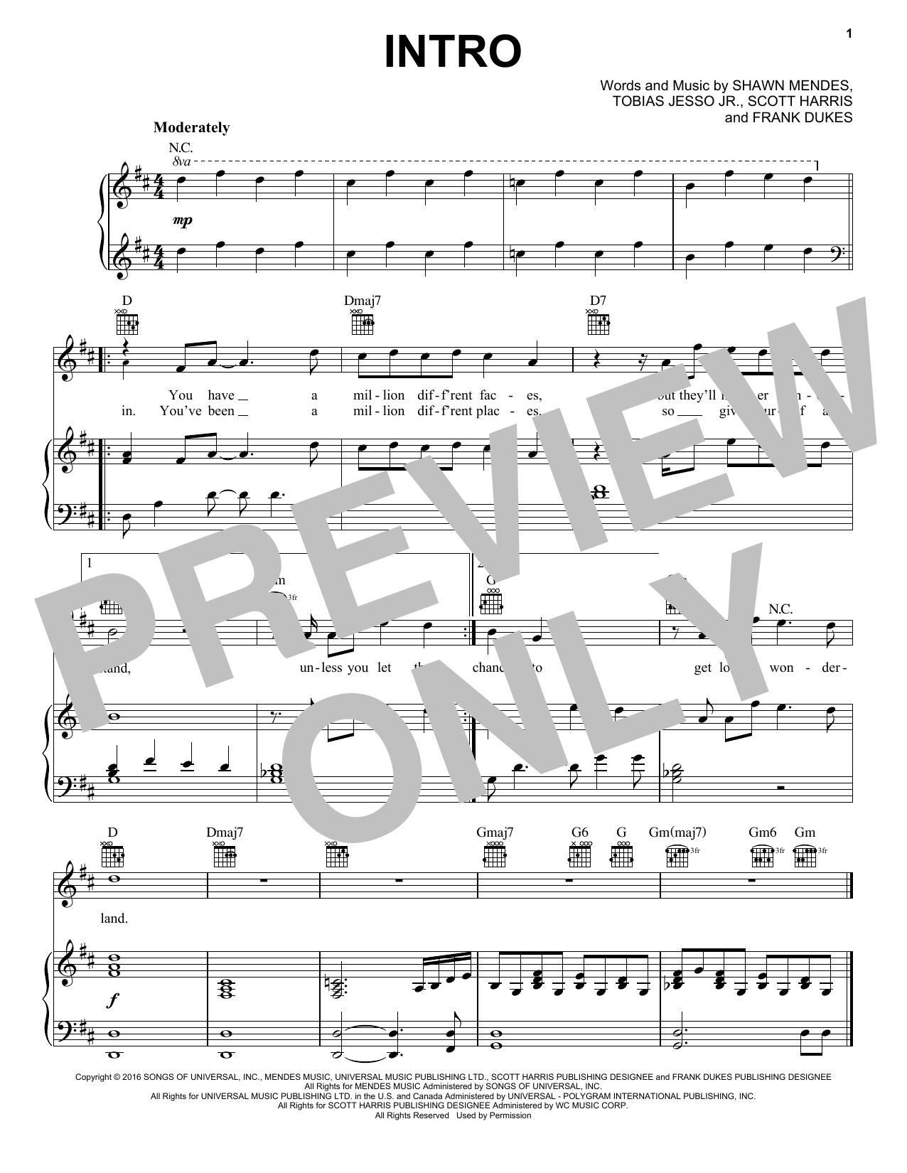 Shawn Mendes Intro sheet music notes and chords. Download Printable PDF.