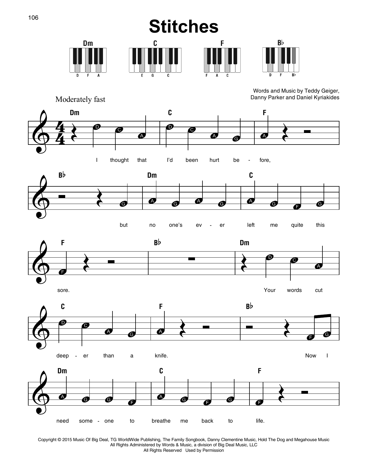 Shawn Mendes 'Stitches' Sheet Music Notes, Chords | Download Printable  Super Easy Piano - SKU: 179337