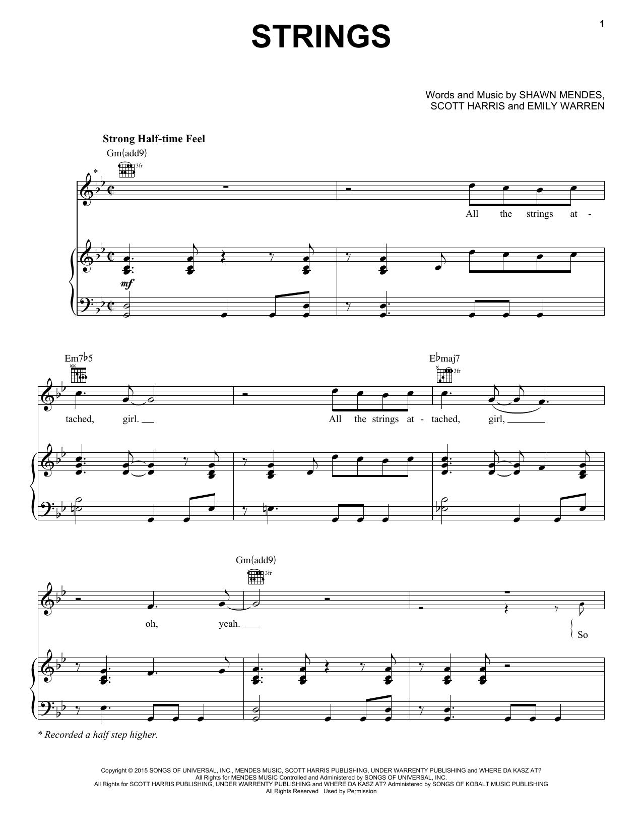 Shawn Mendes 'Strings' Sheet Music Notes, Chords | Download Printable  Piano, Vocal & Guitar (Right-Hand Melody) - SKU: 160793