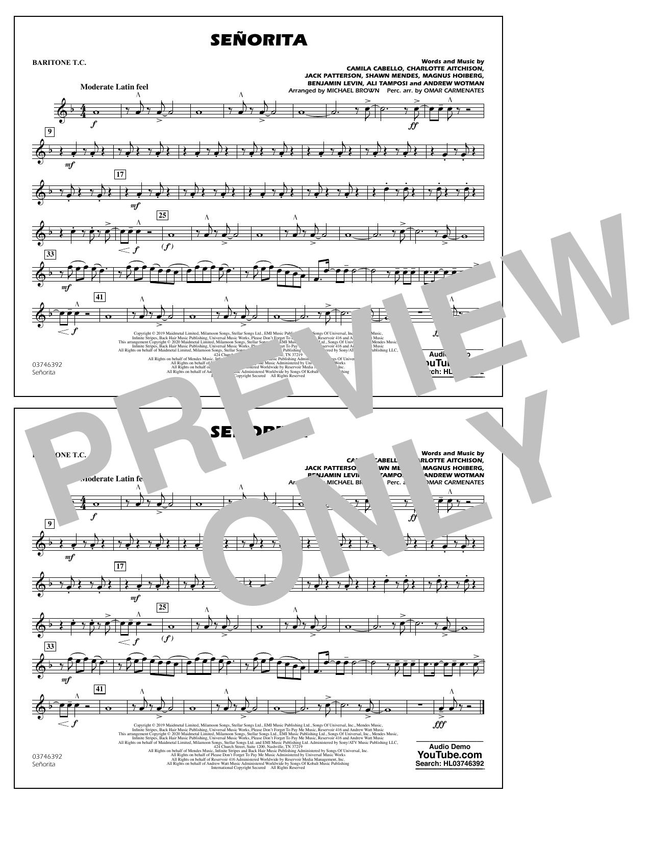 Shawn Mendes & Camila Cabello Señorita (arr. Carmenates and Brown) - Baritone T.C. sheet music notes and chords. Download Printable PDF.
