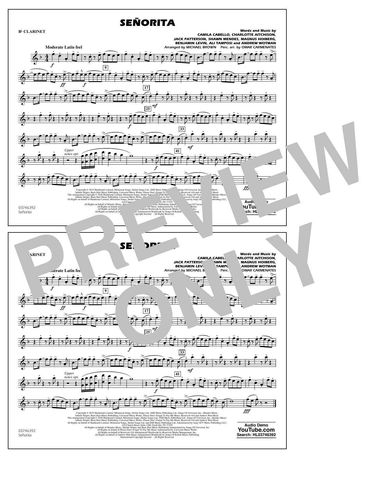 Shawn Mendes & Camila Cabello Señorita (arr. Carmenates and Brown) - Bb Clarinet sheet music notes and chords. Download Printable PDF.