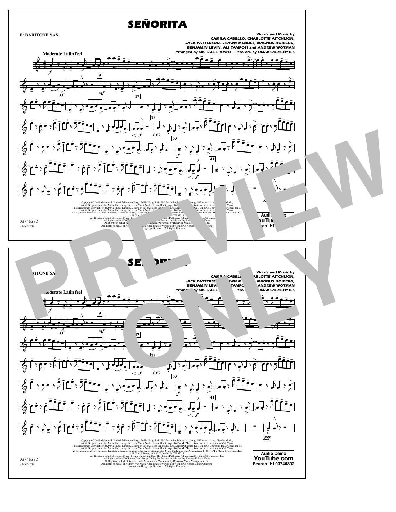 Shawn Mendes & Camila Cabello Señorita (arr. Carmenates and Brown) - Eb Baritone Sax sheet music notes and chords. Download Printable PDF.