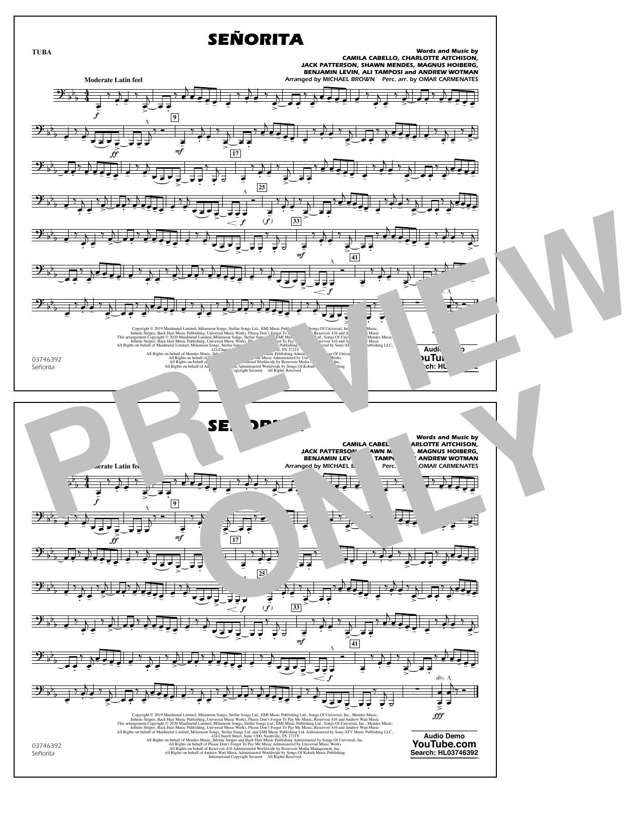 Shawn Mendes & Camila Cabello Señorita (arr. Carmenates and Brown) - Tuba sheet music notes and chords. Download Printable PDF.