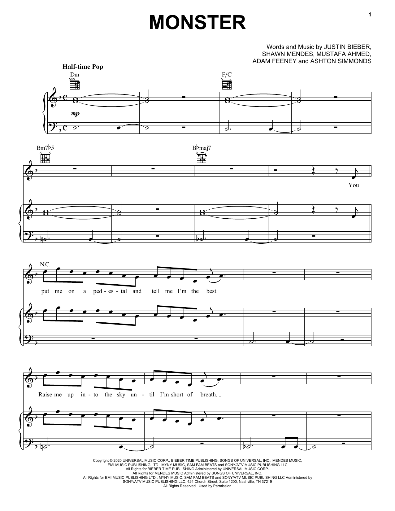 Shawn Mendes & Justin Bieber Monster sheet music notes and chords. Download Printable PDF.