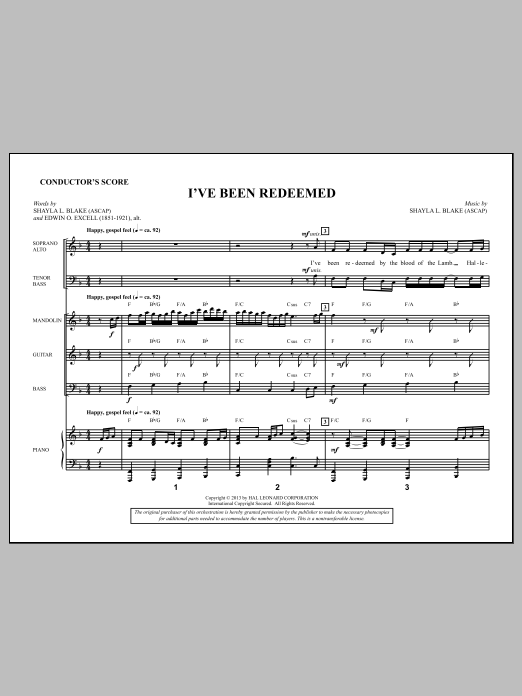 Shayla Blake I've Been Redeemed - Score sheet music notes and chords. Download Printable PDF.