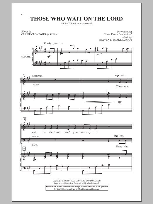 Shayla L. Blake Those Who Wait On The Lord sheet music notes and chords. Download Printable PDF.