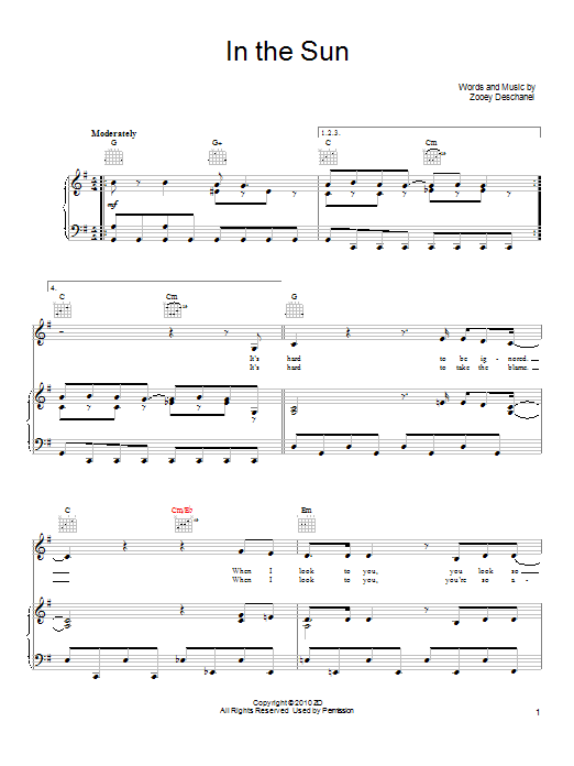 She & Him In The Sun sheet music notes and chords. Download Printable PDF.
