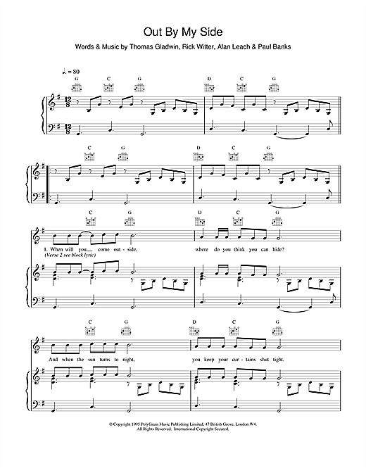 Shed 7 Out By My Side sheet music notes and chords