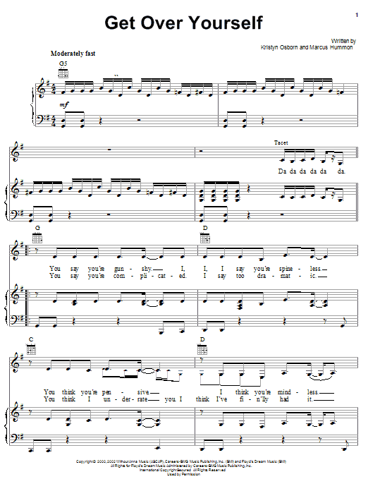 SHeDAISY Get Over Yourself sheet music notes and chords. Download Printable PDF.
