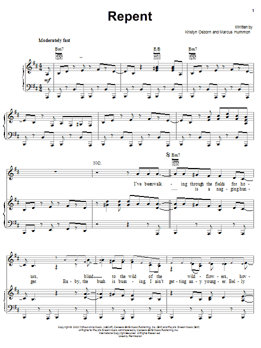 SHeDAISY Repent sheet music notes and chords. Download Printable PDF.