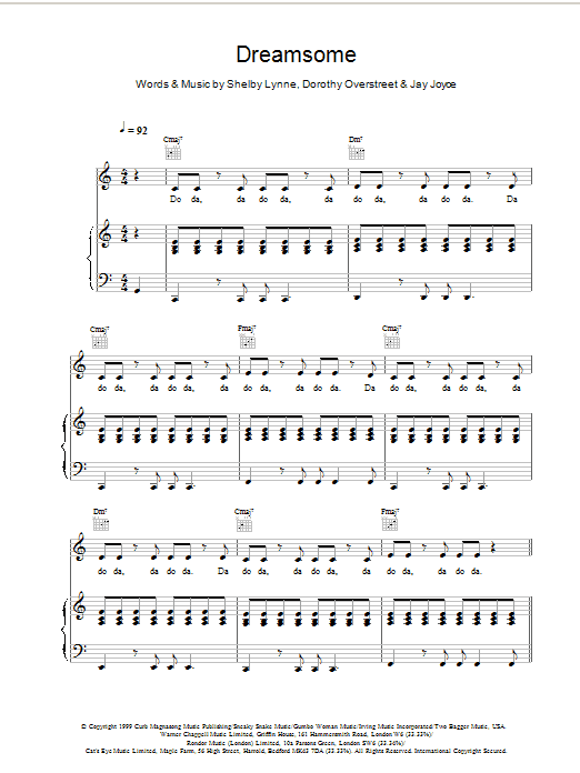 Shelby Lynne Dreamsome (from Bridget Jones's Diary) sheet music notes and chords. Download Printable PDF.