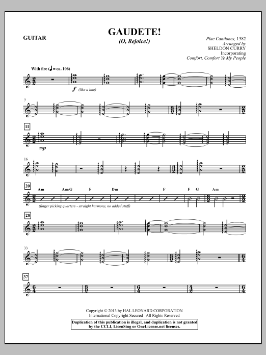 Sheldon Curry Gaudete! (O, Rejoice!) - Guitar sheet music notes and chords. Download Printable PDF.