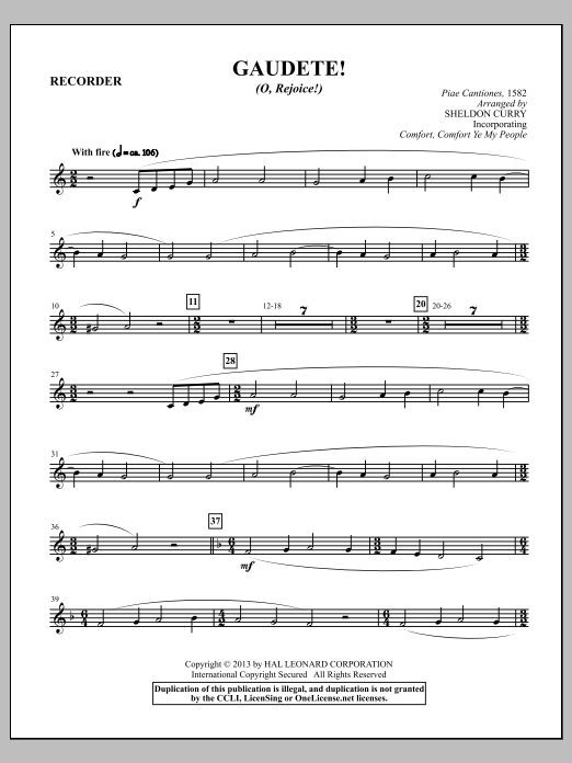 Sheldon Curry Gaudete! (O, Rejoice!) - Recorder sheet music notes and chords. Download Printable PDF.