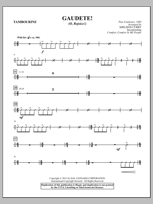 Sheldon Curry Gaudete! (O, Rejoice!) - Tambourine sheet music notes and chords. Download Printable PDF.
