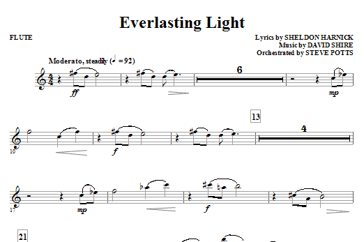 Sheldon Harnick Everlasting Light - Flute sheet music notes and chords. Download Printable PDF.