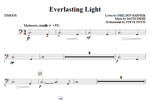 Sheldon Harnick Everlasting Light - Timpani sheet music notes and chords. Download Printable PDF.