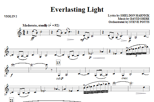 Sheldon Harnick Everlasting Light - Violin 2 sheet music notes and chords. Download Printable PDF.