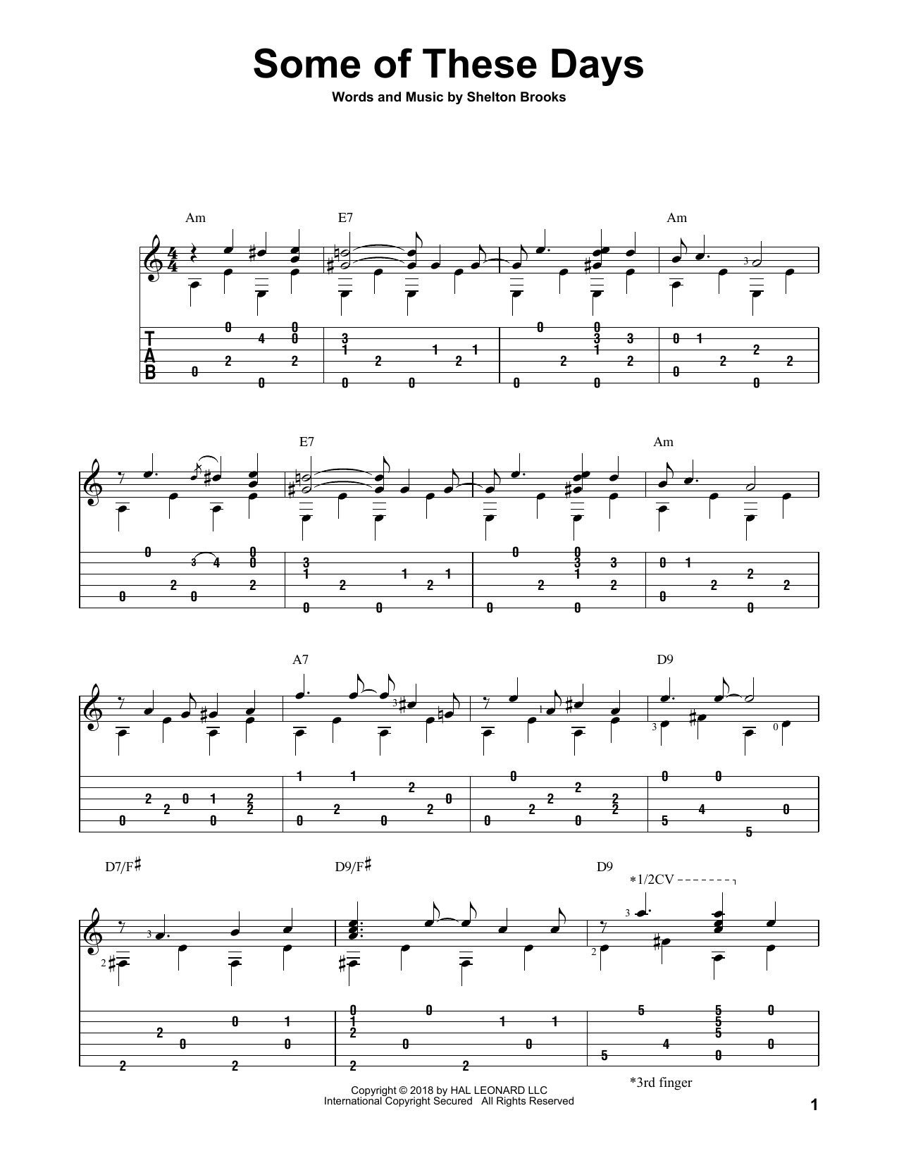 Shelton Brooks Some Of These Days sheet music notes and chords