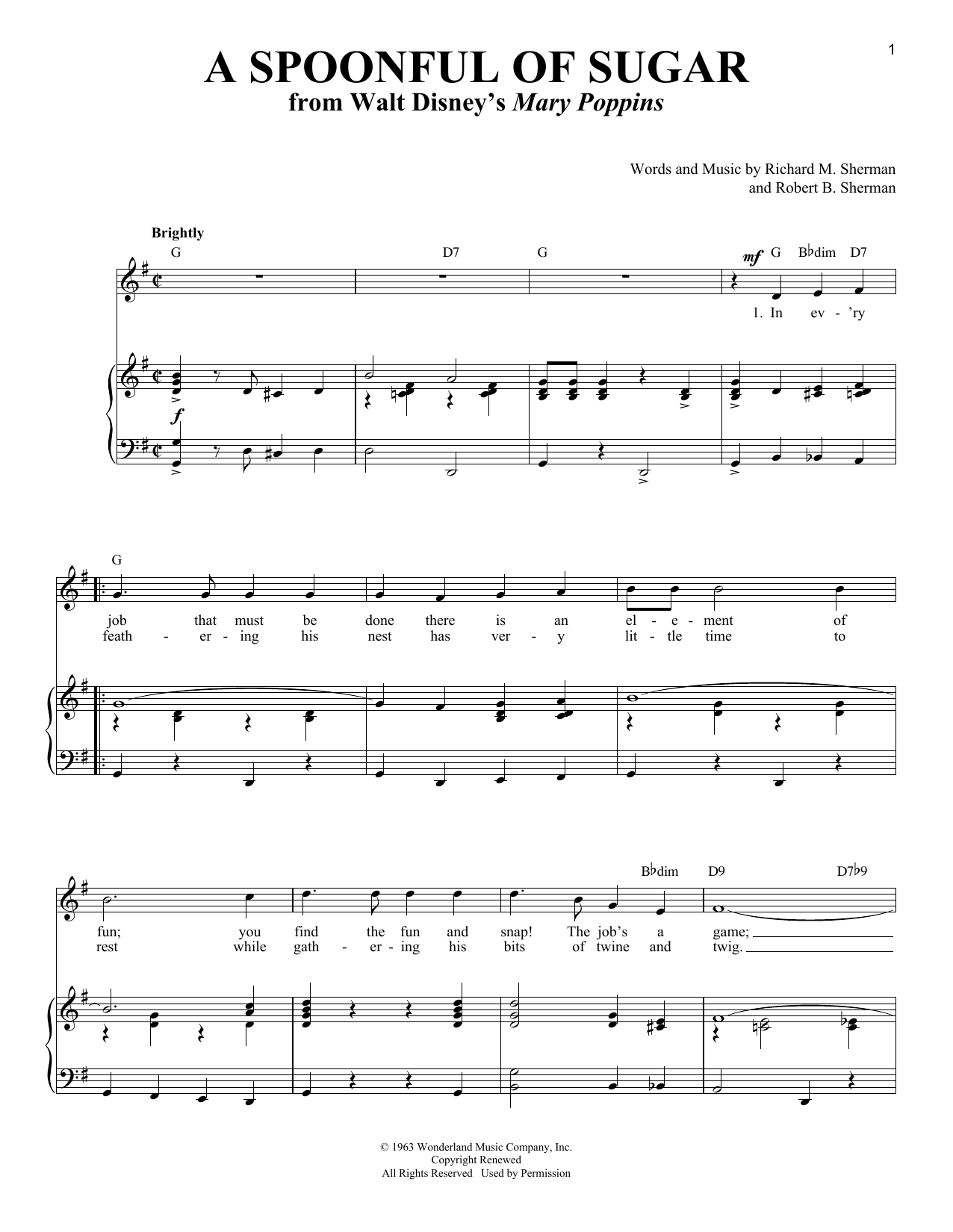 Sherman Brothers A Spoonful Of Sugar sheet music notes and chords. Download Printable PDF.
