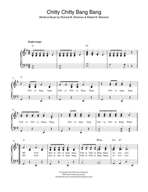 Sherman Brothers Chitty Chitty Bang Bang sheet music notes and chords