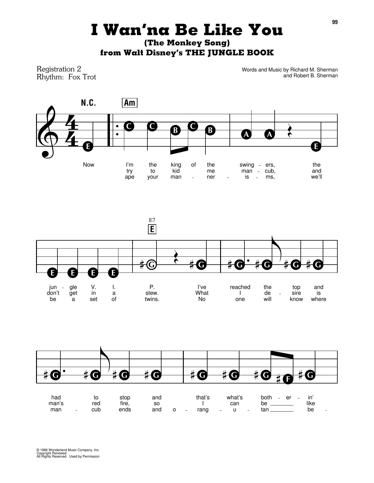 Sherman Brothers I Wan'na Be Like You (The Monkey Song) sheet music notes and chords