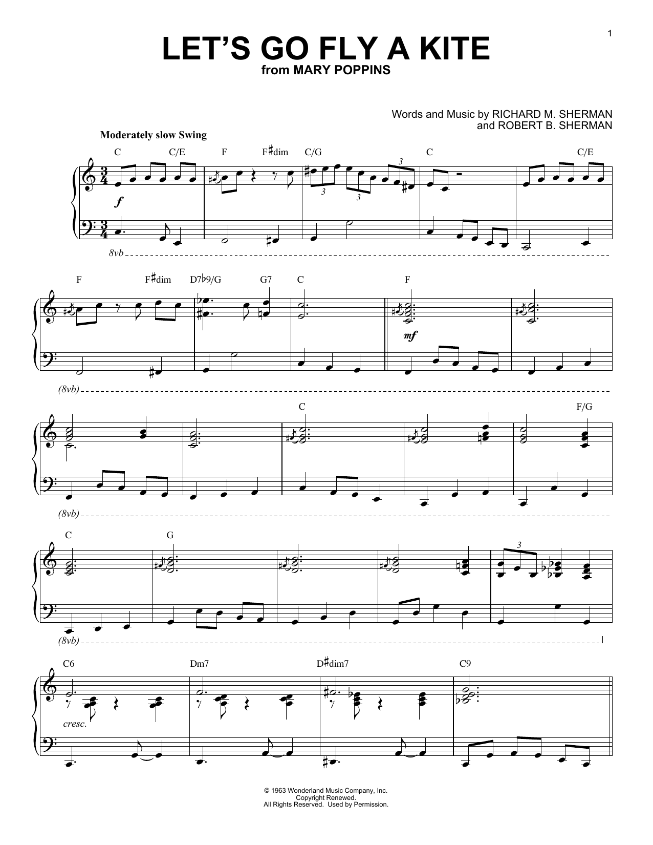 Sherman Brothers Let's Go Fly A Kite [Jazz version] (from Mary Poppins) sheet music notes and chords. Download Printable PDF.
