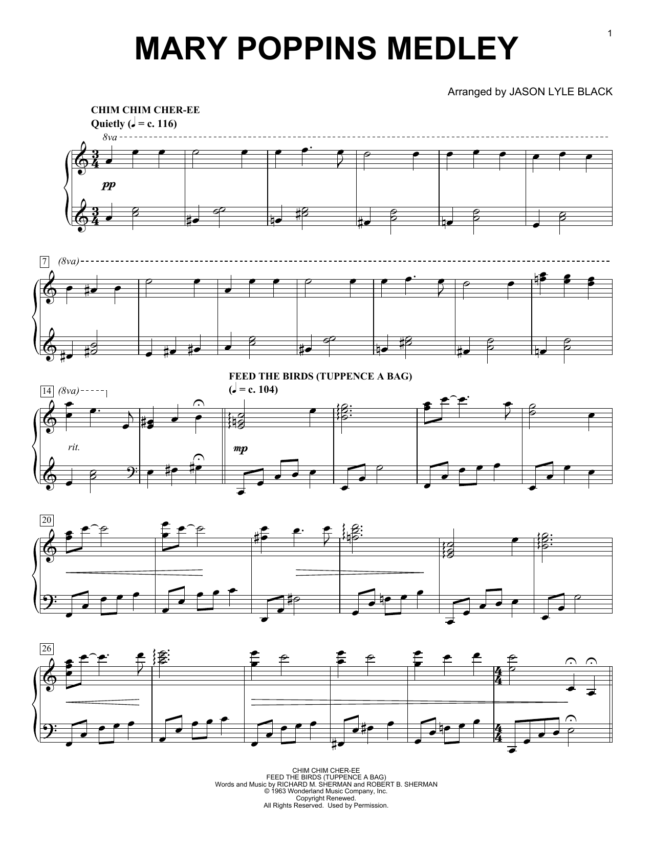 Sherman Brothers Mary Poppins Medley (arr. Jason Lyle Black) sheet music notes and chords