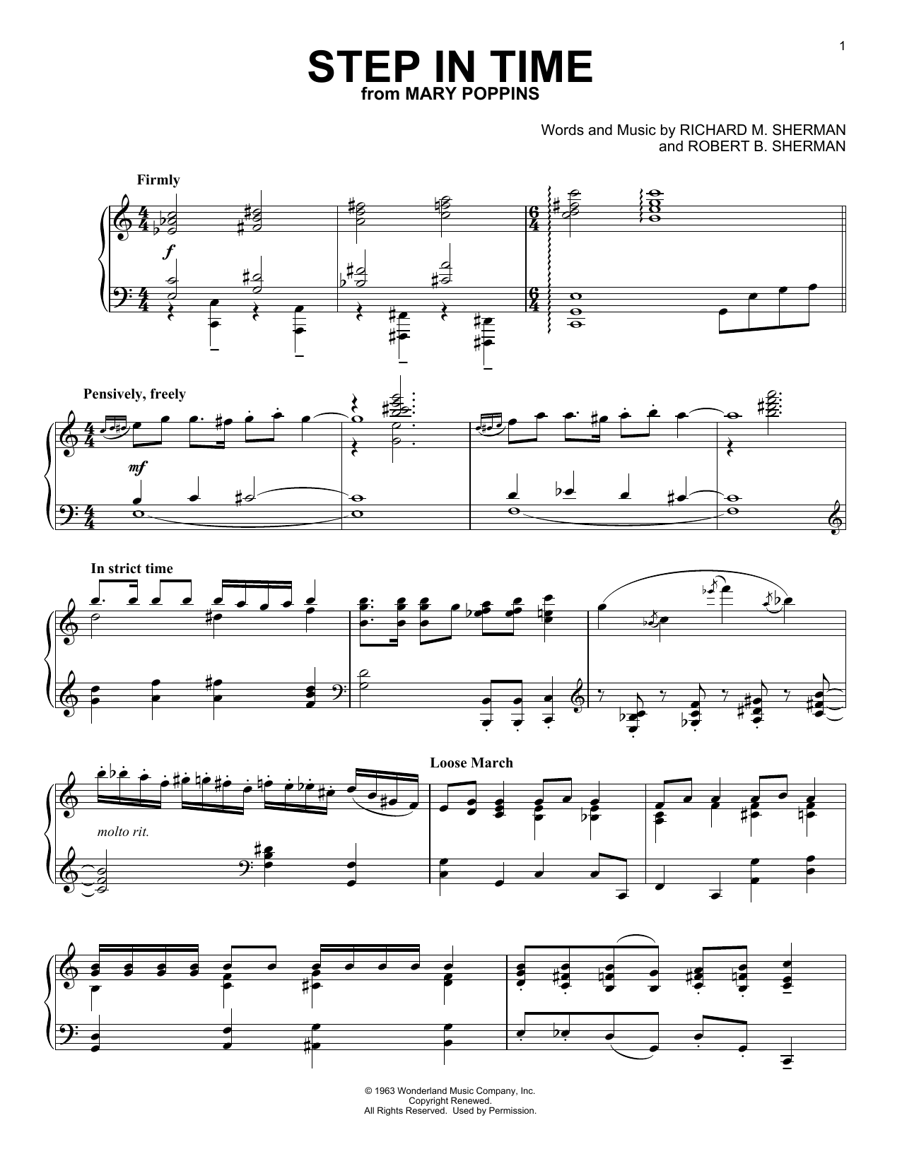 Sherman Brothers Step In Time (from Mary Poppins) sheet music notes and chords. Download Printable PDF.