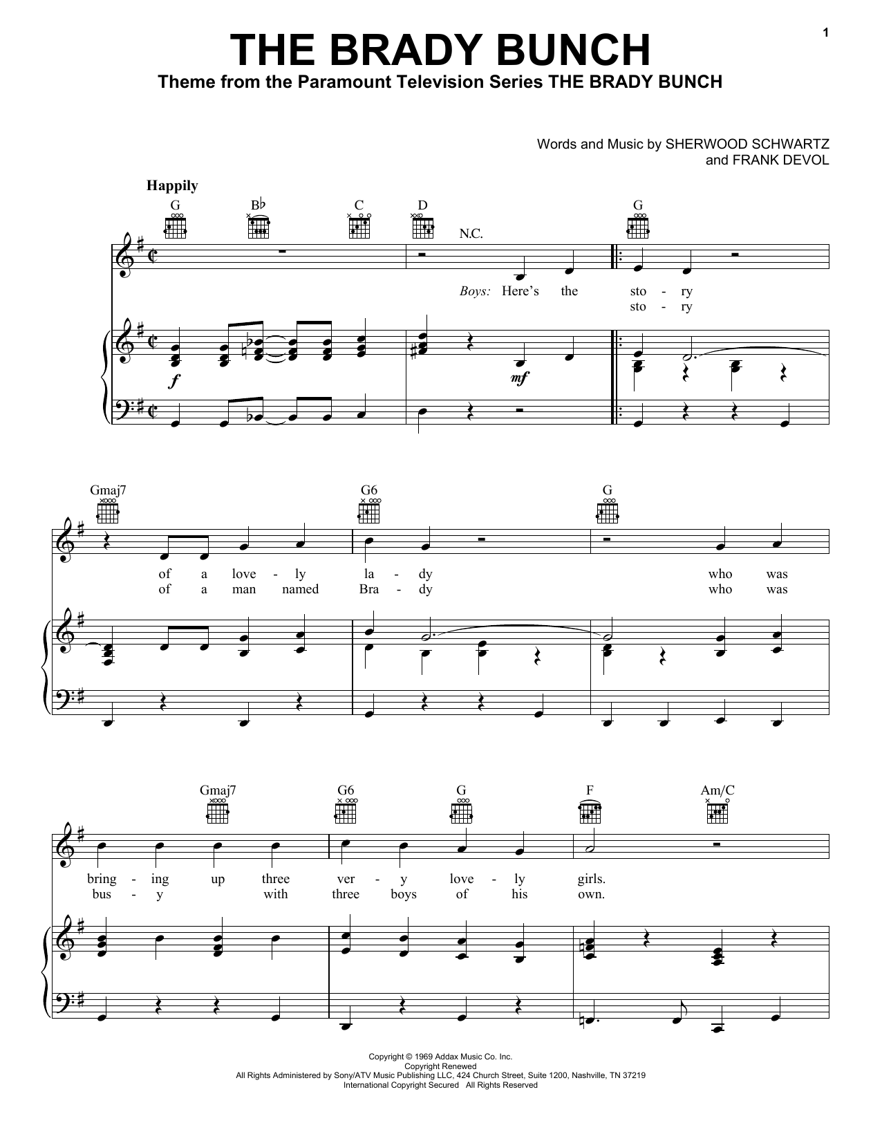 Sherwood Schwartz The Brady Bunch sheet music notes and chords. Download Printable PDF.
